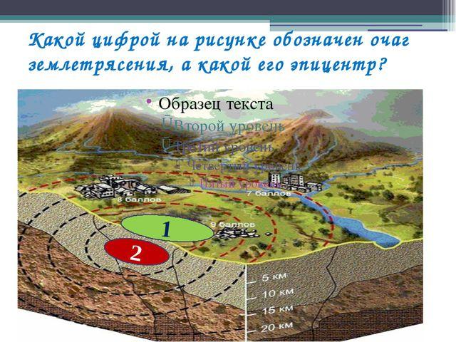 Какой цифрой на рисунке обозначен очаг землетрясения, а какой его эпицентр? 2 1