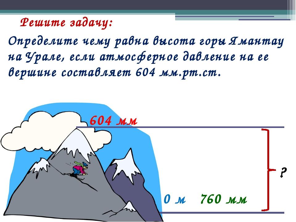 Решите задачу: 0 м 760 мм 604 мм Определите чему равна высота горы Ямантау на...