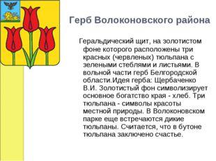 Герб Волоконовского района Геральдический щит, на золотистом фоне которого ра