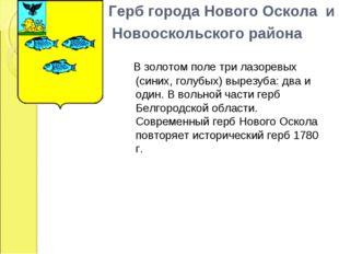 Герб города Нового Оскола и  Новооскольского района  В з