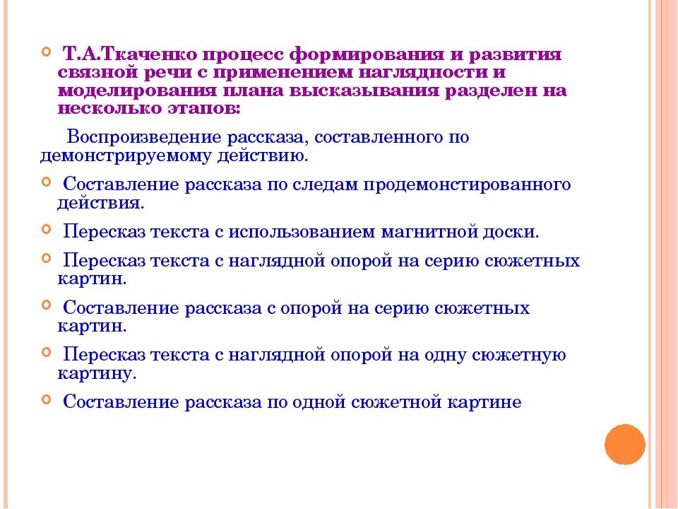 Т.А.Ткаченко процесс формированияи развития связной речи с применением нагл...