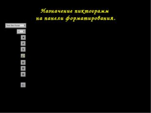 Назначение пиктограмм на панели форматирования. Гарнитура (вид шрифта). Кегль