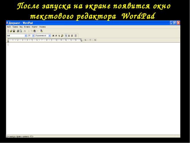 После запуска на экране появится окно текстового редактора WordPad