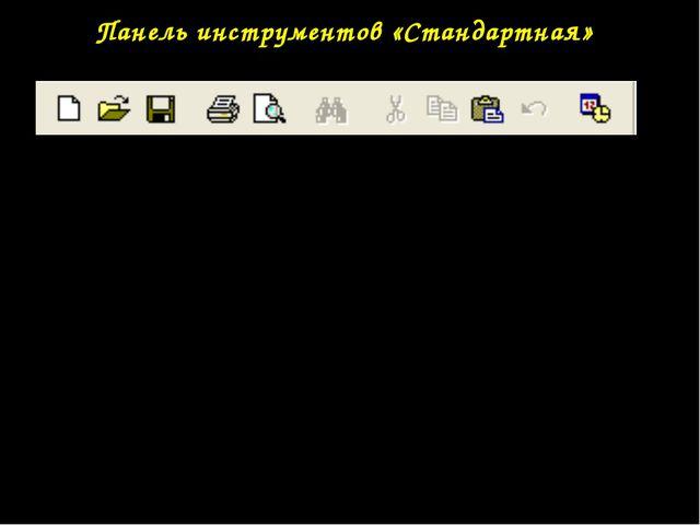 Панель инструментов «Стандартная» Дополнительный инструмент окна приложения -...