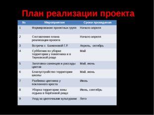 План реализации проекта № Мероприятия Сроки проведения 1 Формирование проектн