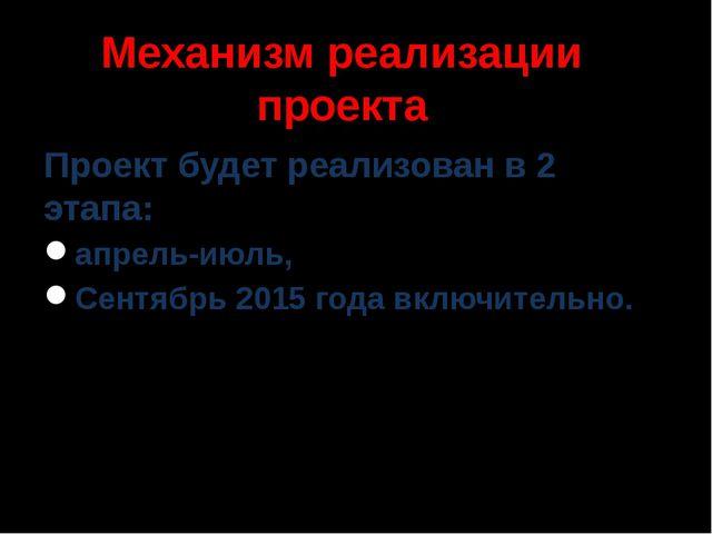 Механизм реализации проекта Проект будет реализован в 2 этапа: апрель-июль, С...