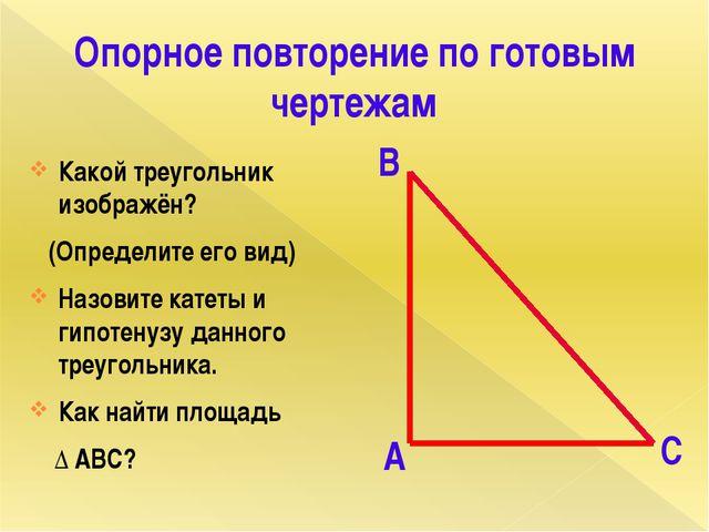 Опорное повторение по готовым чертежам Какой треугольник изображён? (Определи...