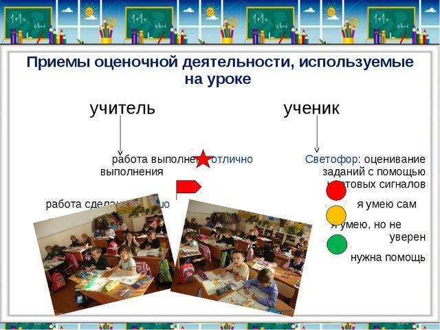 Приемы оценочной деятельности, используемые на уроке учитель ученик работа вы...