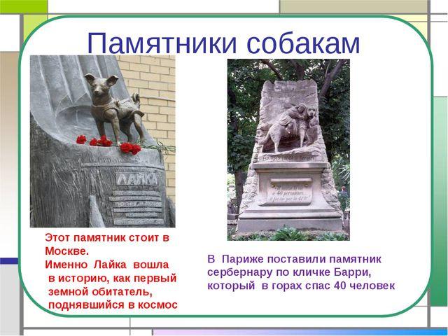 Памятники собакам Этот памятник стоит в Москве. Именно Лайка вошла в историю,...