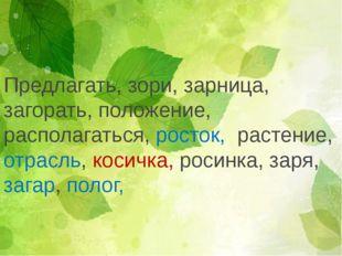 Предлагать, зори, зарница, загорать, положение, располагаться, росток, растен