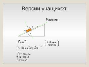 Версии учащихся: ) ) φ φ Решение: Fтр Fт mg N ΣF = ma Fт + Fтр + N + mg = ma