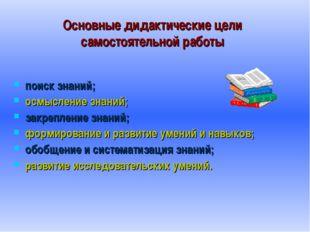 Основные дидактические цели самостоятельной работы поиск знаний; осмысление з