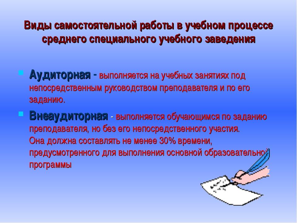 Виды самостоятельной работы в учебном процессе среднего специального учебного...