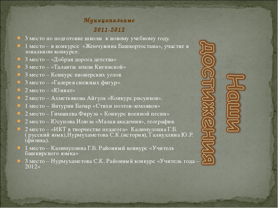 Муниципальные 2011-2012 3 место по подготовке школы к новому учебному году. 1...