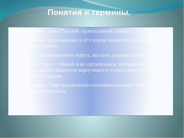 Понятия и термины. Митрополит - глава Русской православной церкви. Ересь – уч...