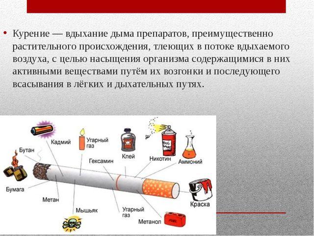Курение — вдыхание дыма препаратов, преимущественно растительного происхожден...