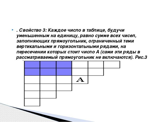 . Свойство 3: Каждое число в таблице, будучи уменьшенным на единицу, равно су...