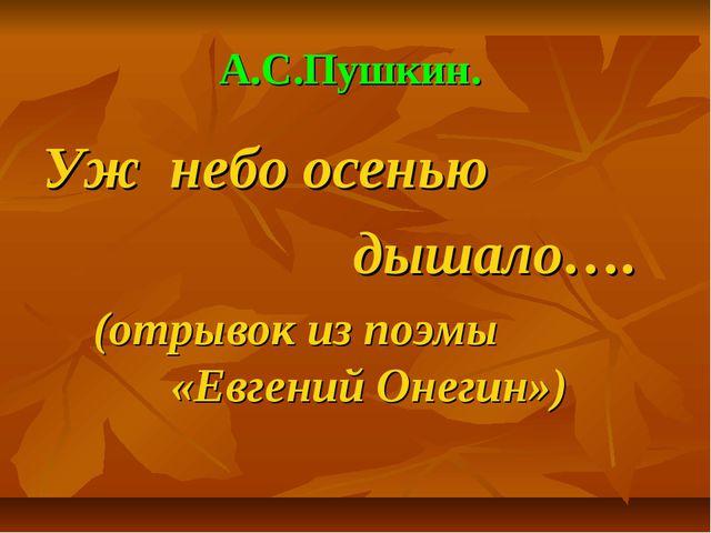 А.С.Пушкин. Уж небо осенью дышало…. (отрывок из поэмы «Евгений Онегин»)