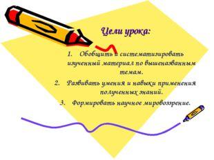 Цели урока: Обобщить и систематизировать изученный материал по вышеназванным