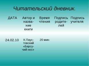 Читательский дневник. ДАТА Автор и назва-ние книги Время чтения Подпись ро