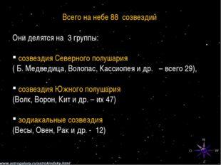 Всего на небе 88 созвездий Они делятся на 3 группы: созвездия Северного полуш