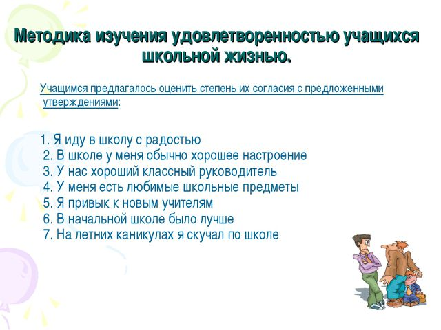 Методика изучения удовлетворенностью учащихся школьной жизнью. Учащимся предл...