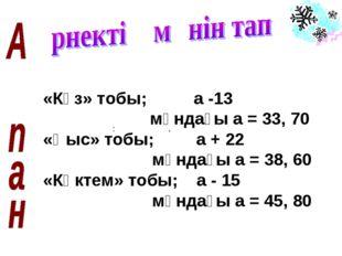 «Күз» тобы; а -13 мұндағы а = 33, 70 «Қыс» тобы; а + 22 мұндағы а = 38, 60 «