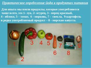 Практическое определение йода в продуктах питания Для опыта мы взяли продукты