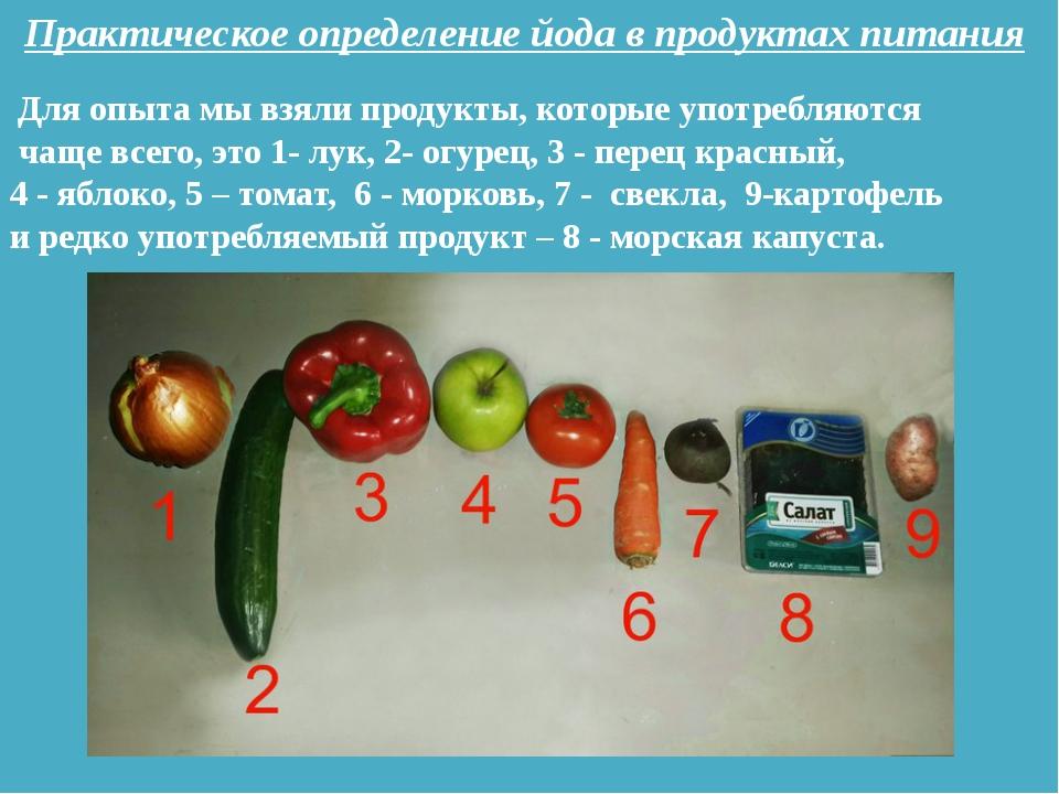 Практическое определение йода в продуктах питания Для опыта мы взяли продукты...