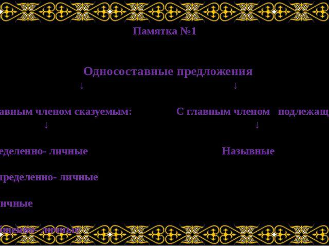 Памятка №1 Односоставные предложения ↓ ↓ С главным членом сказуемым: С главны...