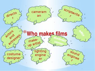 Who makes films director cameraman scriptwriter editor actors and actresses m