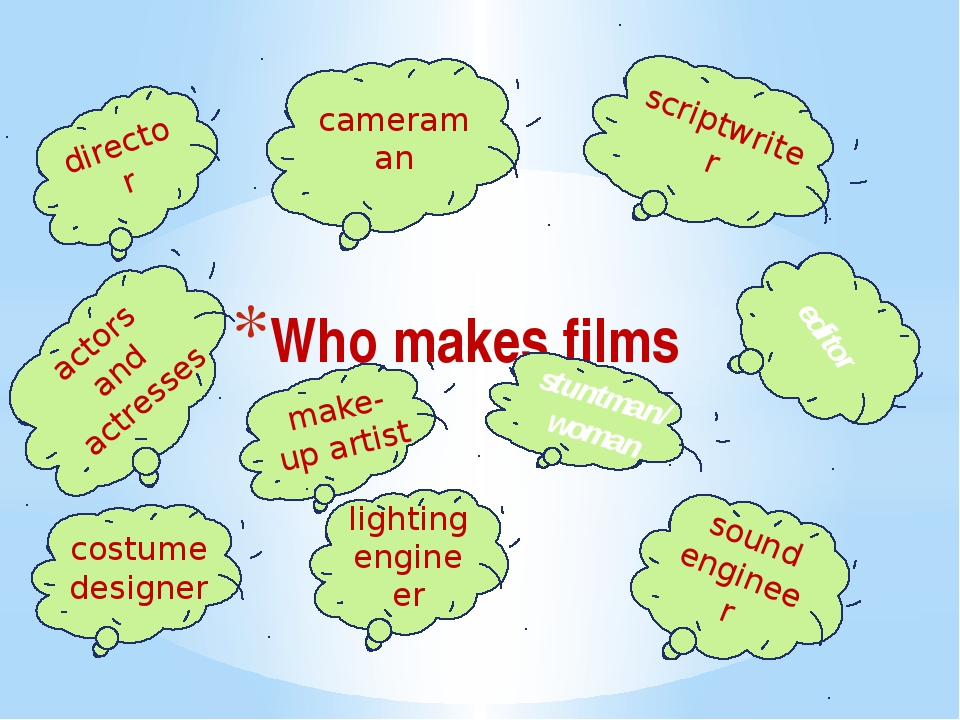 Who makes films director cameraman scriptwriter editor actors and actresses m...