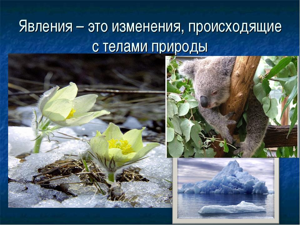 Явления – это изменения, происходящие с телами природы