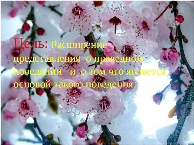 Цель: Расширение представления о праведном поведении и о том что является ос...