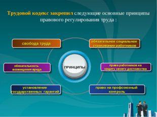 Трудовой кодекс закрепил следующие основные принципы правового регулирования