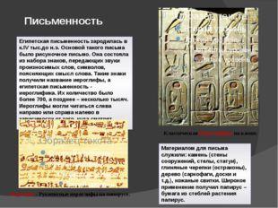 Письменность Египетская письменность зародилась в к.IV тыс.до н.э. Основой та