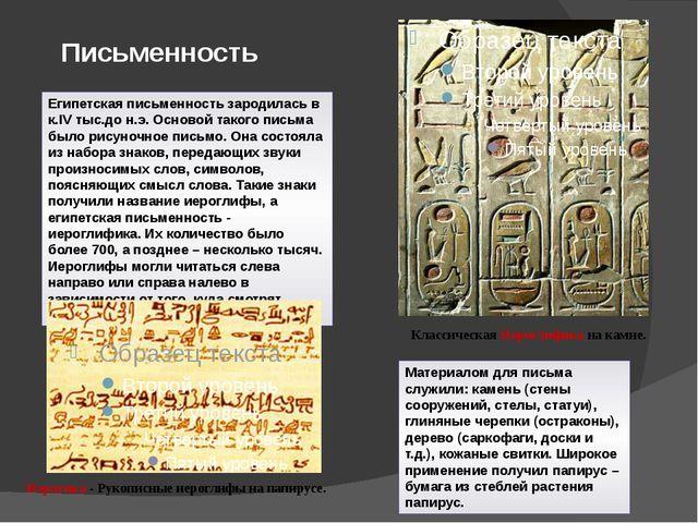 Письменность Египетская письменность зародилась в к.IV тыс.до н.э. Основой та...