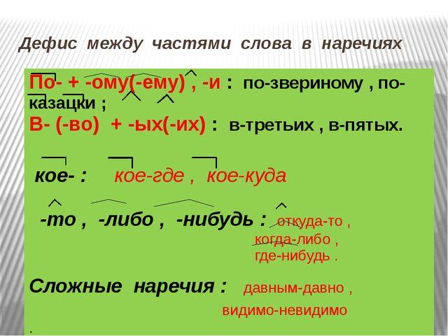 Дефис между частями слова в наречиях По- + -ому(-ему), -и:по-звериному , по-к...