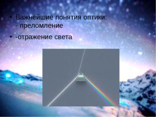 Важнейшие понятия оптики: - преломление -отражение света