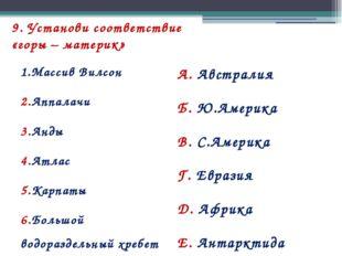 9. Установи соответствие «горы – материк» 1.Массив Вилсон 2.Аппалачи 3.Анды 4