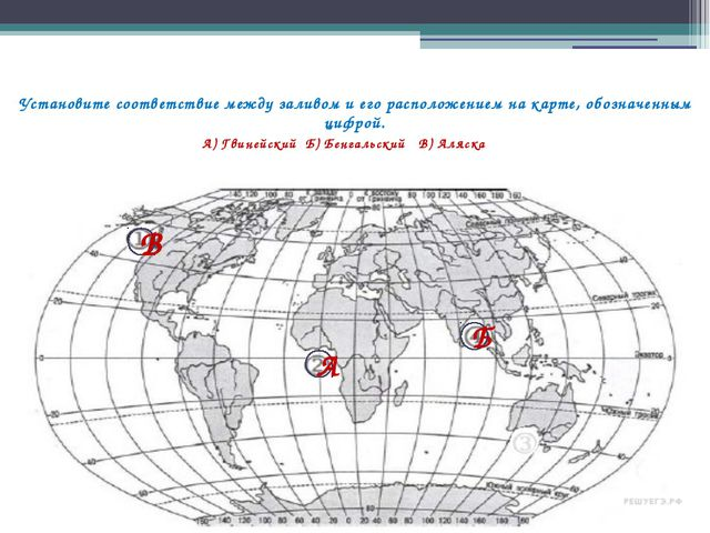 Установите соответствие между заливом и его расположением на карте, обозначен...