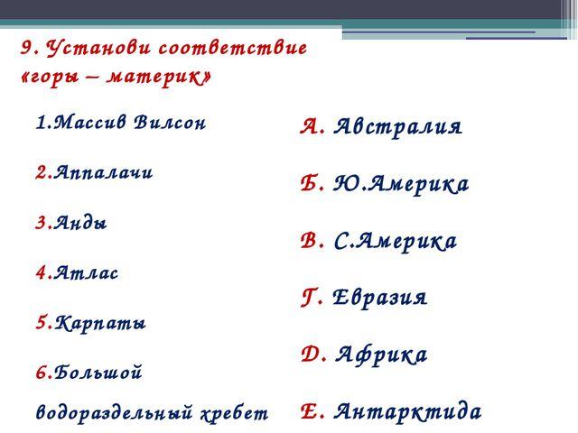 9. Установи соответствие «горы – материк» 1.Массив Вилсон 2.Аппалачи 3.Анды 4...