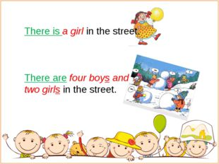 There is a girl in the street. There are four boys and two girls in the stre
