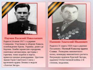 Наумов Василий Николаевич Родился 24 июля 1917 г. в деревне Слиньково. Участ