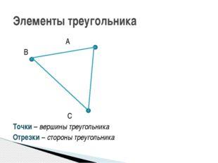 А В С Точки – вершины треугольника Отрезки – стороны треугольника Элементы т