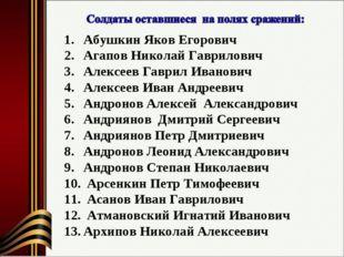 Абушкин Яков Егорович Агапов Николай Гаврилович Алексеев Гаврил Иванович Алек