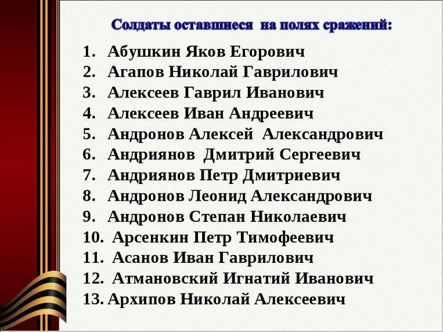 Абушкин Яков Егорович Агапов Николай Гаврилович Алексеев Гаврил Иванович Алек...