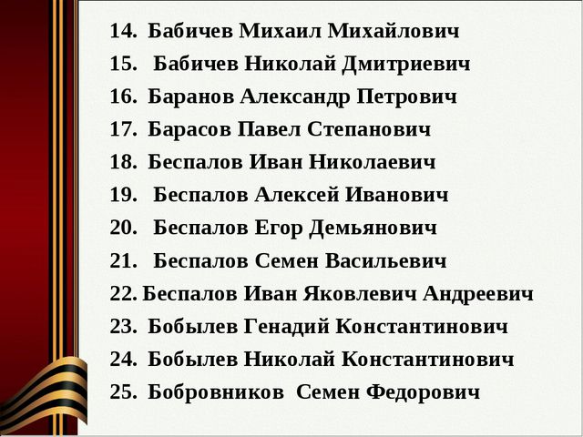 Бабичев Михаил Михайлович Бабичев Николай Дмитриевич Баранов Александр Петро...