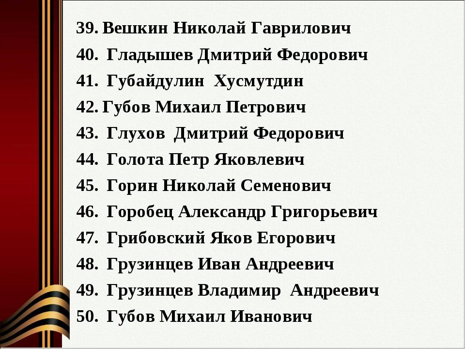 Вешкин Николай Гаврилович Гладышев Дмитрий Федорович Губайдулин Хусмутдин Губ...