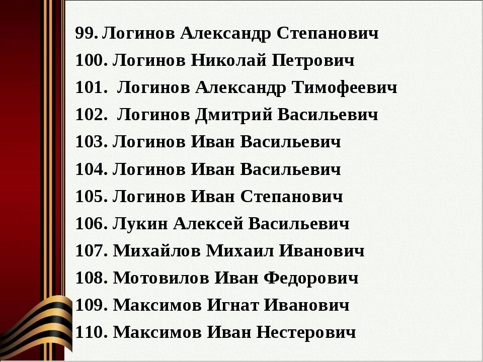 Логинов Александр Степанович Логинов Николай Петрович Логинов Александр Тимоф...